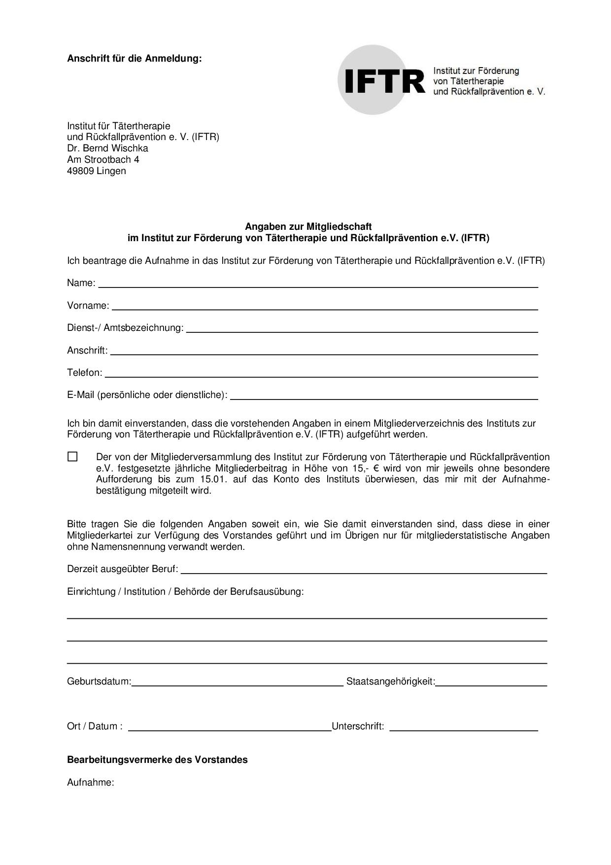 Mitgliedsantrag IFTR